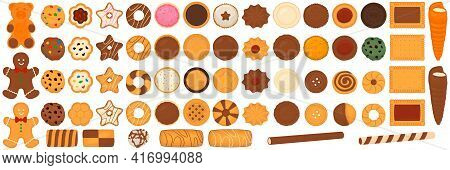 Illustration On Theme Big Set Different Biscuit, Kit Colorful Pastry Cookie. Cookie Consisting Of Co