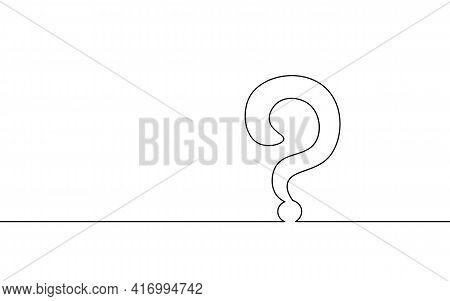 Single Continuous Line Art Question Mark Icon. Online Ask Test Query Concept Silhouette Symbol Desig