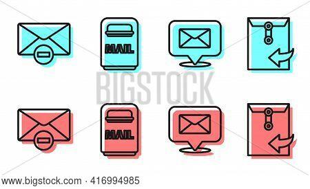Set Line Speech Bubble With Envelope, Delete Envelope, Mail Box And Envelope Icon. Vector