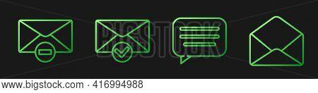 Set Line Speech Bubble Chat, Delete Envelope, Envelope And Check Mark And Envelope. Gradient Color I
