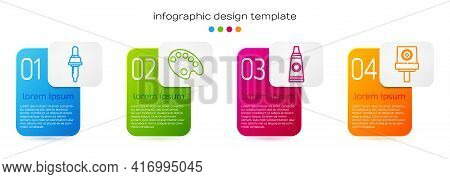 Set Line Pipette, Palette, Tube With Paint Palette And Spray Can Nozzle Cap. Business Infographic Te