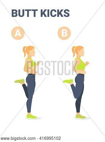 Butt Kickcs Female Home Workout Exercise Guidance. Athletic Girl Doing Bum Kicks Exercising Workout