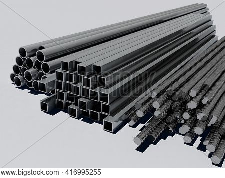 Metal pipes on a white background. .3D rendering