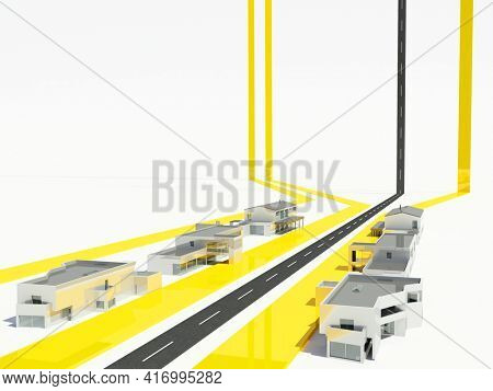 Model and city and roads on a white background. ,3d render