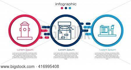 Set Line Fire Hydrant, Well And Electric Water Pump. Business Infographic Template. Vector