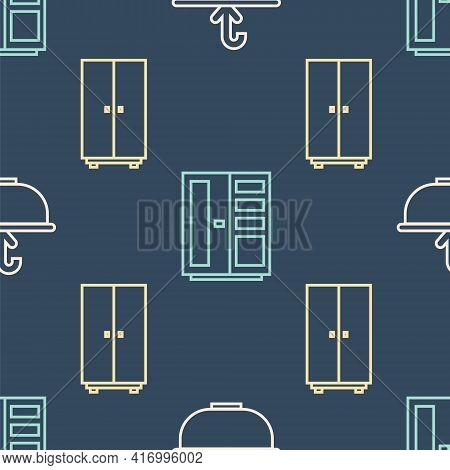 Set Line Washbasin With Water Tap, Wardrobe And Wardrobe On Seamless Pattern. Vector