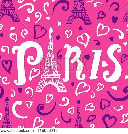 Seamless Pattern. Illustration White And Purple Ink Eiffel Tower. Decorations Isolated On Bright Pin