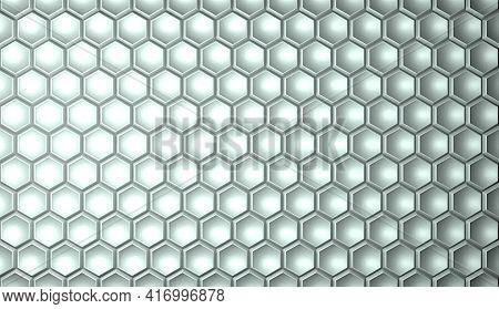 Textured Geometric Hexagonal Background In White Color. Hexagonal Cells. 3d Rendering Illustration