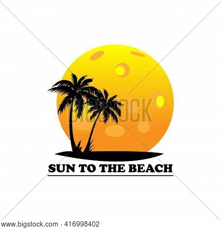 Sunset And Palm Trees On Island  Vector Illustration