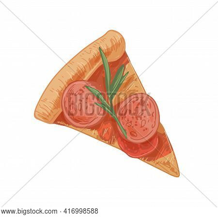 Triangle Piece Of Italian Pizza With Salami Slices, Sausages, Rosemary, Cheese And Tomatoes. Cut Seg