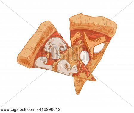 Italian Mushroom Pizza Slices With Champignons, Chanterelles, And Mozzarella Cheese. Cut Triangle Pi