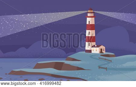Scenic Landscape With Lighthouse On Sea Or Ocean Coast At Night. Seascape With Light Beams From Coas