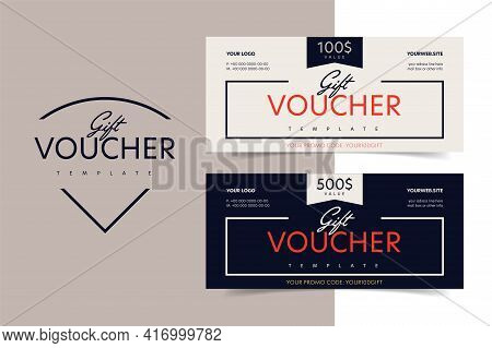 Gift Voucher, Discount Certificate Or Shop Invitation Promo. Shopping Present Coupon Or Special Vect