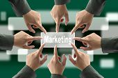 A diverse business team with hands together push Marketing button poster
