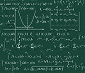 Mathematics background with diferent formulas and graph poster