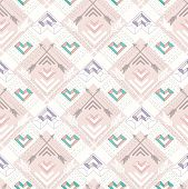 Abstract geometric seamless pattern. Aztec style pattern with hearts. Cute background for children or teenagers poster