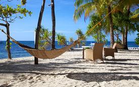 Hammock On A White Sand Tropical Beach On Malapascua Island, Philippines