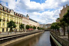 Karlovy Vary, Cszech Republic - July 19: City Landscape And River Tepla In Karlovy Vary.