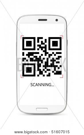 scanning QR code modern touch screen smartphone isolated on white background