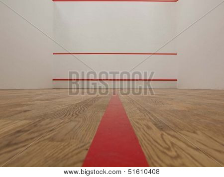 Official white squash court in squash club poster