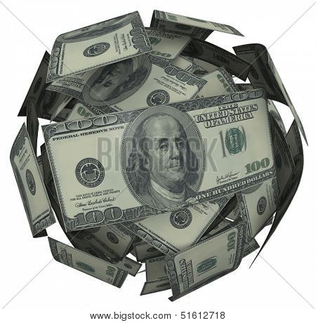 A ball or sphere of 100 dollar american bills, cash or currency to illustrate growing your savings, investment or nestegg to accumulate riches and wealth