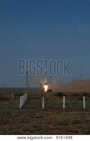 Russian Souyz Spacecraft Launch From Baikonur Cosmodrome In Kazakhstan