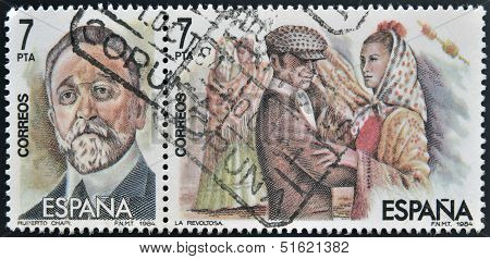 Two stamps shows the portrait of Roberto Chapi composer and a scene of the operetta