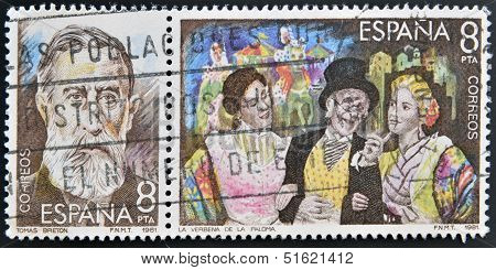 Two stamps shows the portrait of Tomas Breton composer and a scene from the