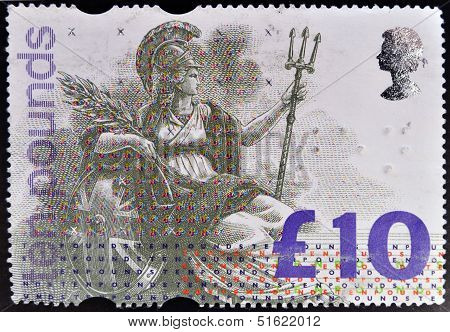 A stamp dedicated to High Value Definitive shows Britannia personification of England