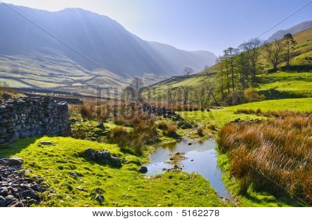 Landscape morning view of English Lake District National Park near Hartsop Cumbria England United Kingdom. poster