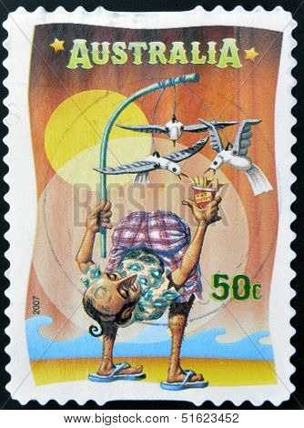 A stamp printed in Australia dedicated to circus shows The Inside-out Man