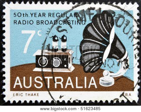 A Stamp printed in Australia shows the Radio and Gramophone Speaker Broadcasting in Australia