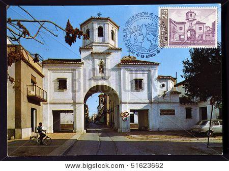 A stamp printed in Spain shos Puerta de Loja in Santa Fe Granada