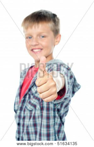 Adorable Young Caucasian Boy Showing Thumbs Up Sign