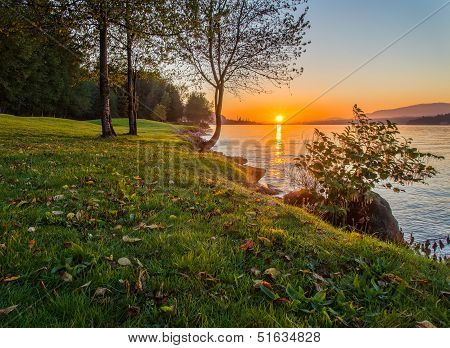 Sunset Along Grassy Shore