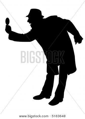 Man Looking Through Magnifier