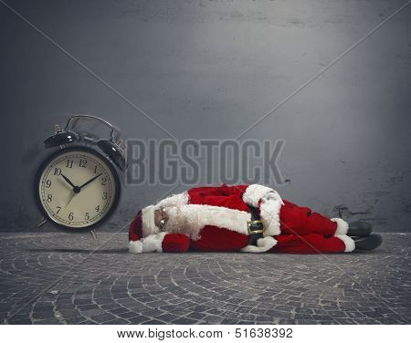 Concept of tired Santa Claus asleep lying on the ground poster