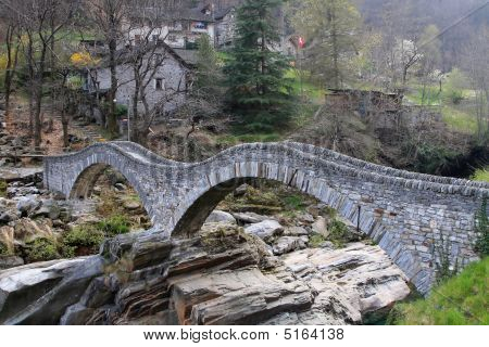 Ancient Stone Bridge In Verzasca Valley, Switzerland