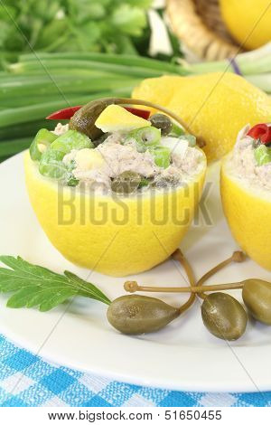 Stuffed Lemons With Tuna Cream