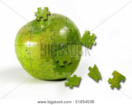 First Plane Of Green Apple Formed By Puzle Pieces