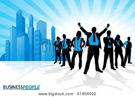 Winning Business Team against City Skyline