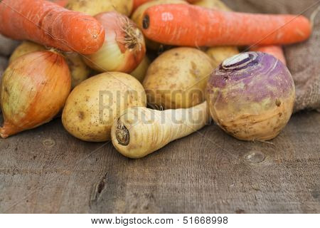Winter Seasonal Vegetables Collection Including Potatoes, Parsnips, Swede And Carrots