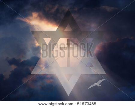 Cross inside Star of David in Sky