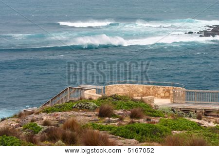Walkway And Waves In South Australia