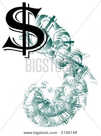 Dollar Sign Spiraling Downward