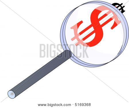 Magnifying Glass And Dollar Sign