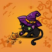 Halloween black cat wearing witches hat and pumpkin vector poster