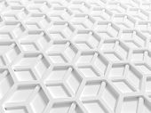 Abstract architecture background with white double honeycomb structure. 3d render illustration poster