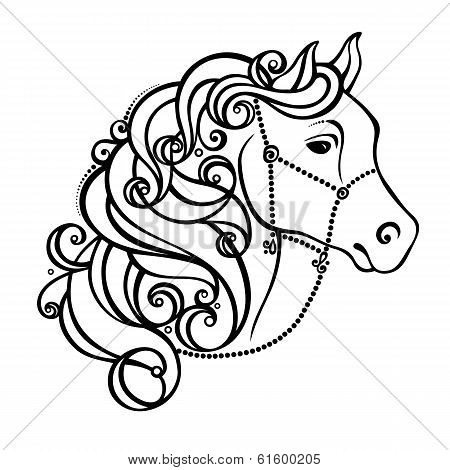 Vector Decorative Horse with Patterned Mane. Patterned design poster