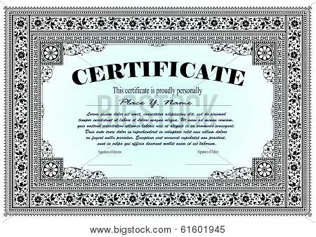 Vector vintage frame, certificate or diploma template poster